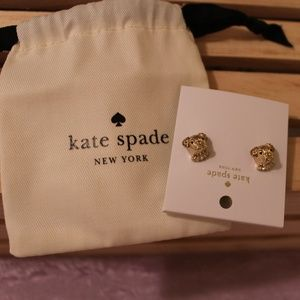 NEW kate spade Puppy Pet Dog & Stone Stud Earrings